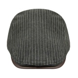 Jual Unisex Trendy Pu Leather Peaked Flat Cap Stripes Hat Cowboy Hat Gatsby Hats Trucker Headwear Summer Beret Sun Hat For Women Men Black Intl Oem Murah