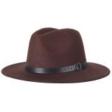 Spesifikasi Musim Gugur And Musim Dingin Wol Unisex Topi Fedora With Sabuk Kulit Yang Dapat Disesuaikan Kopi Yg Baik