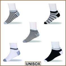 Unisox - set ankle kaos kaki motif Mix Stripe - Multicolor [5 Pasang/ AS005X]