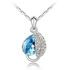 Diskon Universal Acacia Leaves Crystal Necklace 925 Sterling Silver Liontin Kalung Wanita Blue Universal Indonesia