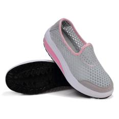 Review Universal Sepatu Slip On Platform Breathable Casual Womens Shoe Size 38 Gray Indonesia