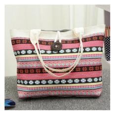universal tas fashion wanita tote bag canvas abstrak merah