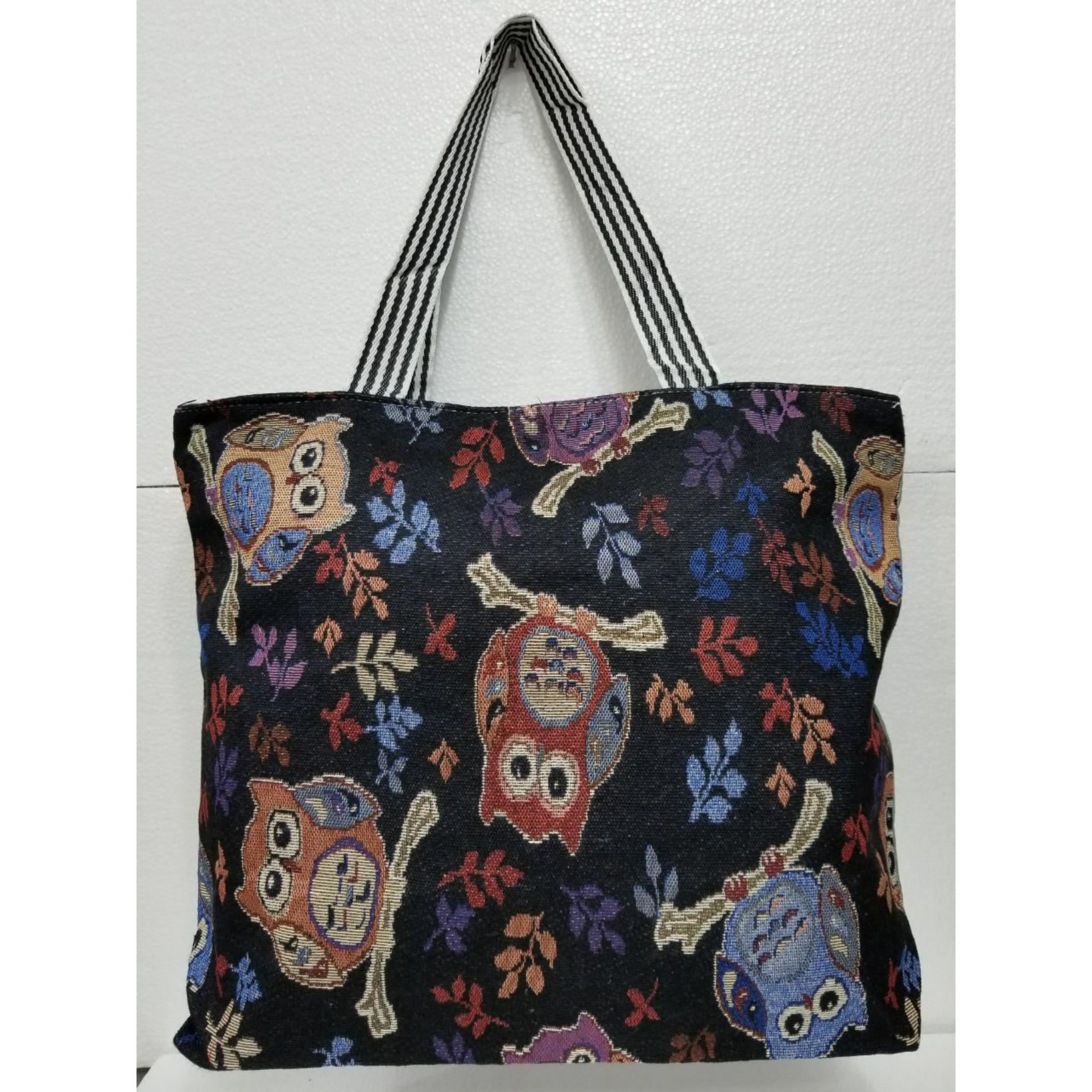 Jahitan rapi dan kuat Universal Tas Fashion Wanita Tote Bag Canvas-Motif owl hitam
