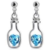 Review Toko Universal Wishing Bottle Earrings Crystal 925 Sterling Silver Anting Wanita Putih Biru