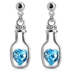 Review Universal Wishing Bottle Earrings Crystal 925 Sterling Silver Anting Wanita Putih Biru Universal