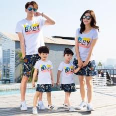 Uniwood Liburan Pantai Orang Tua Anak Rekreasi Sesuai Paket Musim Panas Pendek Lengan Kaus Katun Putih-Intl