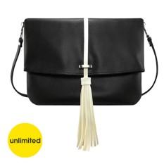 Unlimited - Tas Clutch Sling Tassel Rumbai Bag Selempang Wanita Kulit Sintetis - Hitam