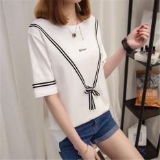 Xianyuansu Kaos Oblong Wanita Warna Oranye/Warna Putih/Warna Hitam Longgar Versi Korea (806 (putih))