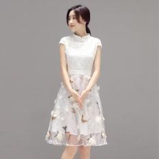 UR Cheongsam Dress Full Dress Putih-Intl