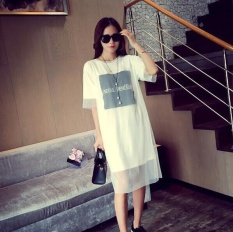 UR Korea Korean fashion Big size loose dress White - intl