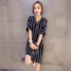 UR Korea Korea Fashion Leisure Stripe Ukuran Besar Dress Black-Intl