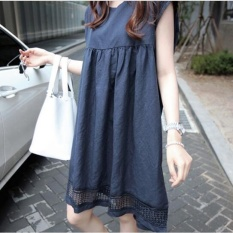 UR Korea Korea Fashion Loose Besar Ukuran Gaun Renda Navy Blue-Intl