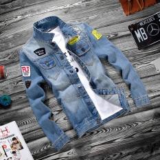 Urban Fashion Anda Memanggil Tembakan Musim Gugur Mens Denim Jaket Slim Pria Pakaian Korea Denim Pakaian Pria Dan- INTL