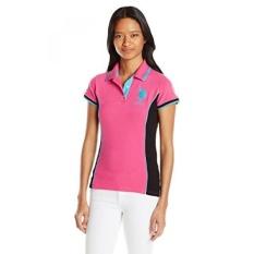 Sebagai POLO Assn. Juniors Juara Warna Block 2 Inch Polo Kaus, Merah Muda Kite,-Internasional