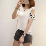 Beli Barang Usaha Seksi Putih Perempuan Lengan Pendek Leher Bulat T Shirt 917 Putih Baju Wanita Baju Atasan Kemeja Wanita Online
