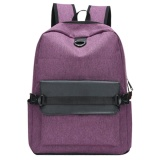 Jual Usb Charging Men Backpack Casual Travel Women Notebook Laptop Sch**l Bag Purple Intl Grosir