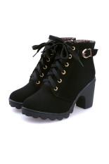 UShoes U100507 Wanita Musim Gugur dan Musim Dingin Boots 2015 Wanita Fashion Sepatu Boots (Hitam)