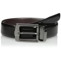 Van Heusen Mens Mens Traveler Leather Sabuk Reversibel, Hitam/coklat, 38-Intl