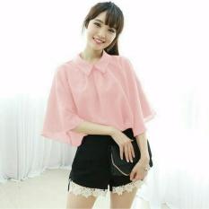 Vanessa Blouse igig Dusty pink Blouse Lengan terompet ruffle/ Blouse Kotak Polos Cewek / Hem Kemeja Baju Wanita Fashion Bangkok / Blus Korean Style / Blouse Wanita Modern