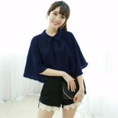 Vanessa Blouse igig navy Blouse Lengan terompet ruffle/ Blouse Kotak Polos Cewek / Hem Kemeja Baju Wanita Fashion Bangkok / Blus Korean Style / Blouse Wanita Modern