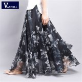 Toko Vangull Summer New Fashion Vintage Bohemia Chiffon Floral Printed Women Boho Floor Length Long Maxi Beach Party Loose Flare Skirt Black Intl Termurah