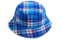 Beli Vanker Anak Anak Bucket Hat Casual Kapas Plaid Musim Panas Matahari Hat Biru Pake Kartu Kredit
