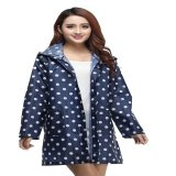 Iklan Vanker Women Polka Dot Outdoor Travel Camp Showerproof Waterproof Hooded Long Raincoat Blue