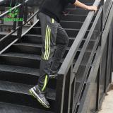 Beli Vansydical Pria Bergaris Zipper Ankle Diikat Pants Fitness Menjalankan Celana Olahraga Grey Hijau Cicil