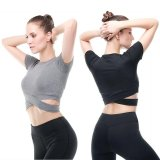 Beli Vansydical Wanita Fashion Hollow Out Sport T Shirt Dengan Cepat Kering Menjalankan Kebugaran Latihan Lengan Pendek Crop Top Intl Nyicil