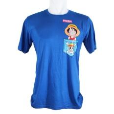 Vanwin - Kaos T-Shirt Distro Premium  Anime One Piece Luffy Smile - Biru