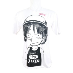 Vanwin - Kaos T-Shirt Distro Premium Anime One Piece Luffy Jiken - Putih