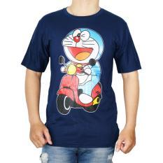 Vanwin - Kaos T-Shirt Distro / kaos Pria / Tshirt Pria / Distro Pria / Baju Pria Premium Doraemon Motor - Biru Navy