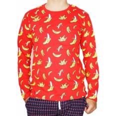 Vanwin - Kaos T-Shirt Distro / kaos Pria / Tshirt Pria / Distro Pria / Baju Pria Premium Lengan Panjang long Slevee Banana Pisang - Merah