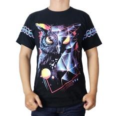 Vanwin - Kaos T-Shirt Distro Premium Owl Colour - Hitam