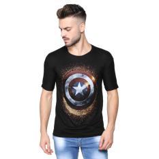 Vanwin - Kaos T-Shirt Distro Premium Superhero Captain Shield Gradasi - Hitam