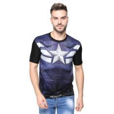 Vanwin - Kaos T-Shirt Distro Premium Superhero FullPrint Captain Stripe - Hitam Abu