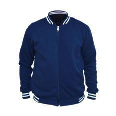 Jual Varsity Baseball Jacket Polos Blue Navy Dongker Jaket Pria Ori