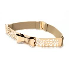 VEECOME Women Fashion Gold Metal Keeper Metallic Big Mirror Bow Wide Obi Belts (Fretwork Beige) - intl