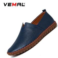 Promo Vemal Sapi Kulit Pria Bernapas Flats Sepatu Moccasin Casual Loafers Slip On Blue Intl Vemal