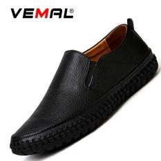 Vemal Kulit Sapi Pria Flats Sepatu Moccasin Casual Loafers Slip On Hitam Internasional Murah