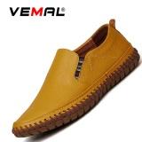 Beli Vemal Kulit Sapi Men S Flats Sepatu Moccasin Casual Loafers Slip On Kuning Intl Cicilan