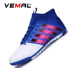 Spesifikasi Vemal Pria Turf Indoor Sepak Bola Futsal Boots Sepatu Outdoor Soccer Boots Biru Intl Merk Vemal