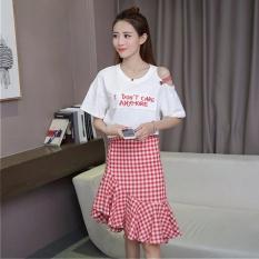 Jual Venflon Gaun Korea 2 Pcs Bahu T Shirt Mermaid Rok Pakaian Gaun Letter Cetak Plaid Gaun Mini Merah Intl Original