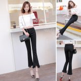 Iklan Venflon Gaun Korea Elastis Fringe Kasar Hem Flares Denim Jeans Slim Celana Pant Hitam