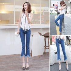 Spesifikasi Venflon Gaun Korea Elastis Fringe Kasar Hem Flares Denim Jeans Slim Celana Pant Biru Beserta Harganya