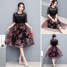 Venflon Gaun Korea Lace Floral Hollow Out Pinggang Tinggi Swing Dress Office Pesta Malam Gaun Line Formal Dress- INTL