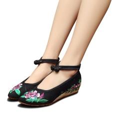 Spesifikasi Veowalk Sepatu Asia Baju Wanita Bordir Kanvas Ballet Flats Menunjuk Toe Ankle Strap Comfort Sepatu Kasual Hitam Internasional Murah
