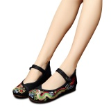 Diskon Veowalk Chinese Style Dragon Embroidered Women Casual Canvas Ballet Flats Mary Jane Comfort Cotton Cheongsam Shoes Black Intl Branded