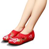 Veowalk Sepatu Cina Floral Bordir Wanita Musim Semi Musim Gugur Kapas Casual Datar Ujung Lancip Sepatu Ladies Vintage Old Beijing Canvas Balet Merah Intl Veowalk Murah Di Tiongkok