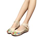 Obral Veowalk Sepatu Bergaya China Merak Bordir Katun Kasual Wanita Sepatu Flat Wanita Vintage Beijing Tua Berjalan Kanvas Balet Krem Murah